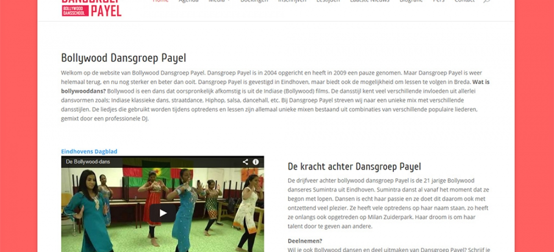 Dansgroep Payel website